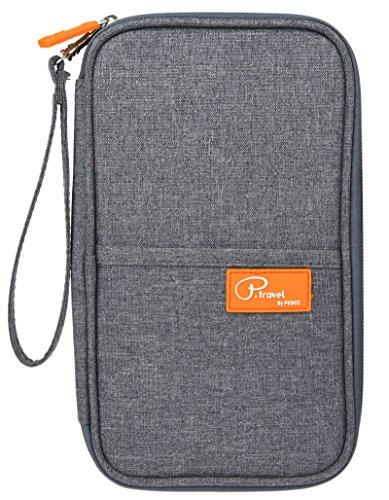 Damen & Herren Ausweistasche Reise-Dokumente Universal-Tasche Handtasche Travel Wallet Reisepass Schutztasche Kreditkarten-Halter Mappe mit Reißverschluss Grau (Reise-halter Pass)
