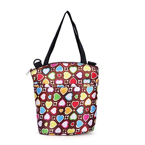 GSPStyle Damen Handtasche Nylon Henkeltaschen Frischhalten Tasche Kindertasche Farbe Dunkelbraun Kaffeebraun