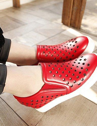 ShangYi gyht Scarpe Donna - Mocassini - Casual - Punta arrotondata - Zeppa - Finta pelle - Nero / Rosso / Bianco Red