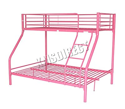 FoxHunter New Pink Metal Triple Children Sleeper Bunk Bed Frame No Mattress Double Bed Base Single On Top