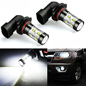JDM ASTAR Extremely Bright Max 50W High Power 9005 HB3 LED Bulbs for DRL or Fog Lights, Xenon White