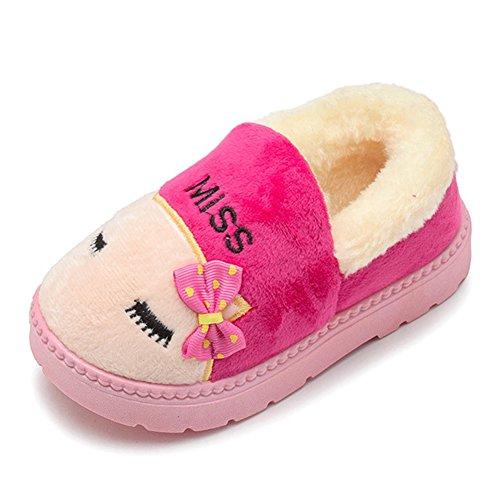 Fortuning's JDS Enfants Garçons filles Unisexe Bow Lunettes Chat Coton Chaussons Grosses bottes de neige rosé