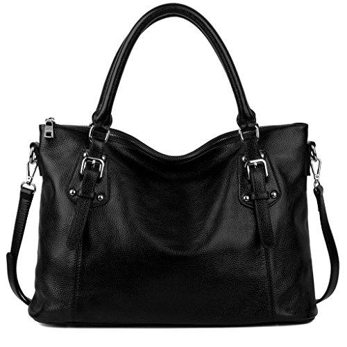 Imagen de yaluxe mujer estilo clasico cuero genuino suave  pequeña saco de mano grande bolsa de hombro negro