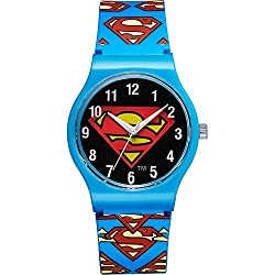 Warner Bros Superman SM-02-Children's watch-Analogue quartz-black dial-Blue Plastic Bracelet