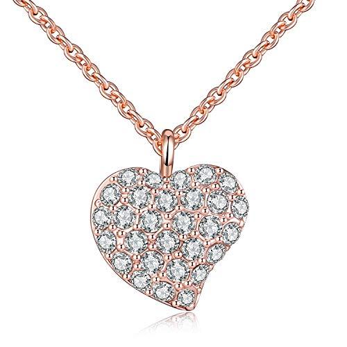 Raydem Heart Shaped Anhänger Halskette, Elegante Halskette mit Kristallen für Frauen, Schmuck, Geschenkverpackung (Shaped Anhänger Heart)