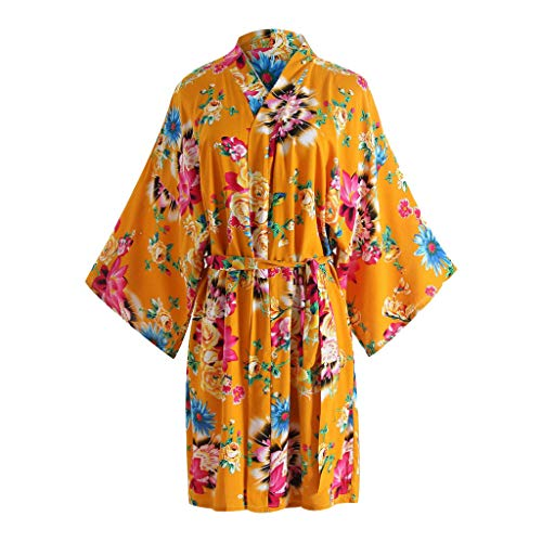 s Damen Sex Set Print Blossom Kimono Bademantel Bademantel Dessous Nachthemd Gelb one Size ()