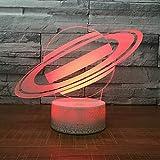 Saturn Universum Nachtlicht Lampe 3D Sky Planet Led Lampe 7 Bunte Tischlampe Für Kinder Party Geschenk Weiß Basis Mit Berührungsschalter Shldxz
