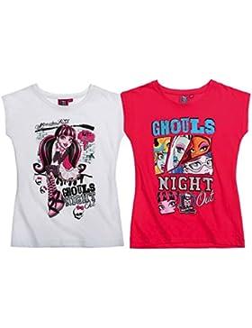 Monster High - Mädchen Kurzarm T-Shirt Doppelpack - 2 Varianten - 4 Größen