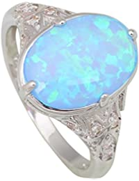 Garilina Jewelry Women's Rings Blue Pink Green White Fire Opal 925 Sterling Silver Wedding Party Ring Gifts R3001