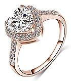 Beydodo 18K Vergoldet Ringe für Damen mit Zirkonia Herz Partnerring Ehering Ringe Rosegold Größe 60 (19.1)