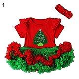 periwinkLuQ de Noël Filles Robe Bandeau Tenues de Lot de Cadeaux de Noël Imprimé Swing évasé Robe Tops, 70cm, 1#