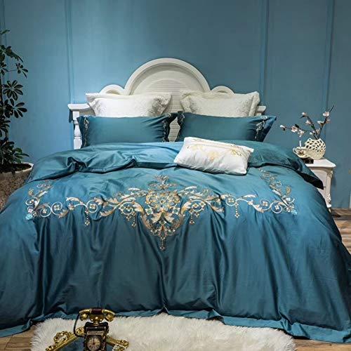 HIUGHJ steppenLuxury Blue 60S Ägyptische Baumwolle Royal Stickerei Bettwäschesatz Königin King Size Bettbezug Bettlaken Bettwäsche Kissenbezüge 4 / 7pcs-Queen 4pcs (Queen Royal Bettwäsche Blue)