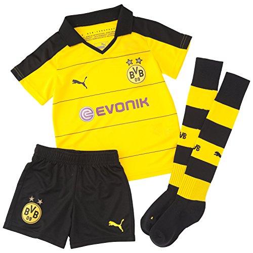 Puma Jungen Bekleidung BVB Home Minikit mit Socken, cyber yellow/schwarz, 104, 748013 01 (Puma Kleinkind Trainingsanzug)