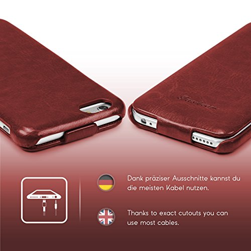 Étui iPhone 6 / 6s, Urcover Fashion Flip Case Housse Coque Apple iPhone 6 / 6s Téléphone Protection Smartphone Rouge Cover Marron