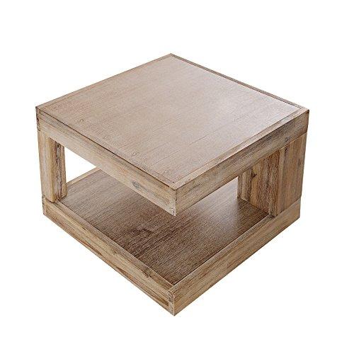 Massiver Couchtisch GIANT Akazie 45cm teakgrau gekälkt Tisch Holztisch Wohnzimmertisch Akazienholz