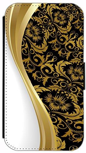 Flip Cover für Apple iPhone 5 5s Design 621 Tattoo Style Schwarz Gold Blau Hülle aus Kunst-Leder Handytasche Etui Schutzhülle Case Wallet Buchflip (621) 586