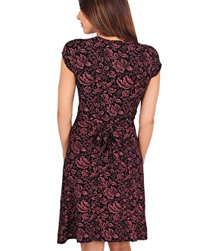 KRISP® Femmes Robe Portefeuille Midi Noeud Torsadé Col V Casual Corail (6610)