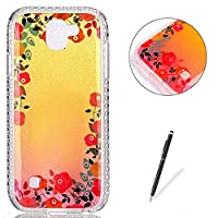 LG K3 2017 Case Silicone,[with Free Black Touch Stylus] KaseHom Gradient Colour Gold and Pink Soft TPU Bumper Skin Bling Glitter Diamond Unique Fashion Design Pattern Ultra Slim Shell Shockproof Anti-Scratch Protective Cover for LG K3 2017,Pink Roses