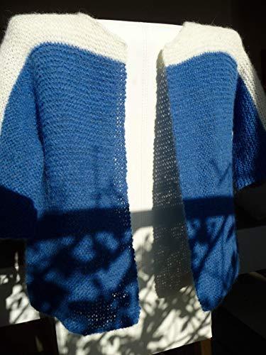 Strickweste Jacke Handarbeit Alpaca zarte leichte Wolle Unikat Blau Grau Wollweiß