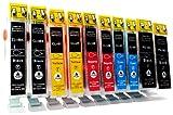 10 Cartouches d'encre compatibles avec CANON PGI-5 / CLI-8 avec Chip | 2x noir (PGI-5BK) & 2x noir (CLI-8BK) / cyan (CLI-8C) / magenta (CLI-8M) / jaune (CLI-8Y | pour Canon PIXMA MP500 MP510 MP520 MP530 MP600 MP600R MP610 MP800 MP800R MP810 MP830 MP960 MP970 MX700 MX850 iP4200 iP5200
