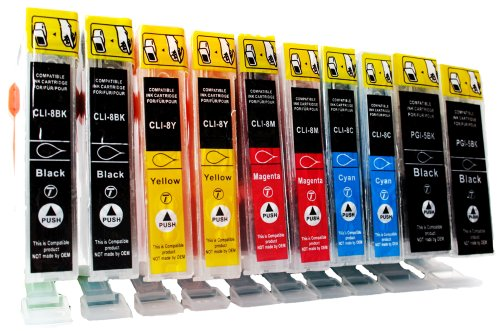Preisvergleich Produktbild 10 kompatible Druckerpatronen mit CHIP und Füllstandsanzeige