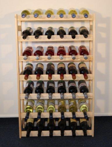 MODO24 Weinregal, Holz, unbehandelt, 63 x 25 x 102 cm, 17-Einheiten