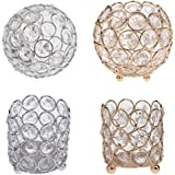 Segolike 4 Pieces Glass Crystal Beaded Tealight Votive Candle Holders Candlestick Wedding Banquet Table Centerpieces Home Decorative Handcrafts
