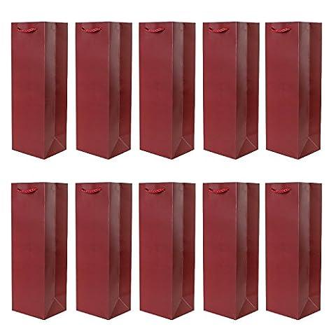 10er Packung Flaschentüten Geschenktüten dunkelrot für Wein Sekt und Champagner geeignet 36x12x10