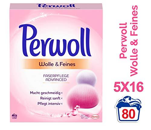 Perwoll Wolle & Feines Faserpflege Advanced Pulver-Feinwaschmittel, 5er Pack (5 x 16 Waschladungen)