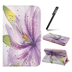 Idea Regalo - Samsung Galaxy Tab 4 7.0 Pollice Case, Serie diamante Fata Fiore Portafoglio / wallet / libro Flip Custodia per iPad Pro, Ukayfe Apple iPad Pro Slim-Fit Folio Smart Caso Cover [ Automatic sleep function ] per Samsung Galaxy Tab 4 7.0 inch Tablet SM-T230 / T231 / T235 Ultra Slim lightweight stand con Free Stilo Penna - Viola gigli