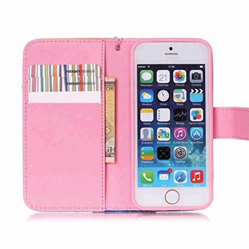 Owbb Bookstyle Housse Coque de protection en PU cuir pour iPhone 5/ 5S /5G / SE Smartphone-carillon de vent Color 01