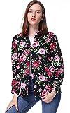 Dioufond Camisas Mujer Manga Larga Estampada de Flores Blusa y Camiseta (Negro 36)