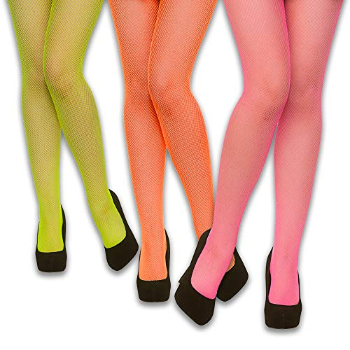 Eventlights Neon UV Netzstrumpfhosen Set - grün, pink, orange - 3 Stück Set - Leuchten im Schwarzlicht - UV aktiv - Netzstrumpfhose Neon-grün