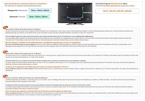 RICOO Fernseh-Halterung S3222 Flachbild-Fernseher O-LED Wohnwand LCD TV Wandhalterung Schwenkarm Flachbildschirm Fernseh-Wand-Halter VESA 200×200 - 5