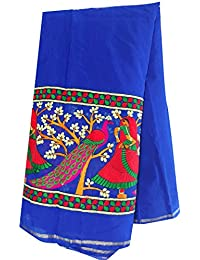 Kurti Material Blouse Fabric Chanderi Embroidered, blue kutch work peacock, kurti dress 1mtr