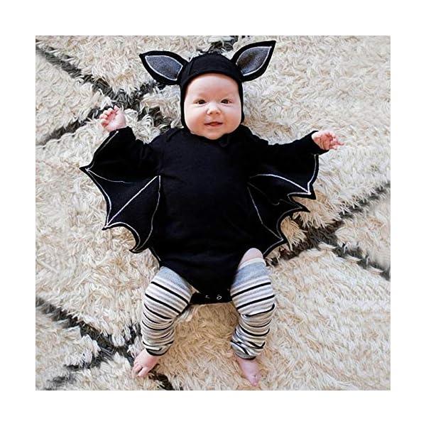 Subfamily Disfraz Halloween niña bebé niño recién Nacido bebé murciélago Mono murciélago Manga Mameluco + Gorro de Oreja… 2