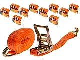 10 Stück 2000kg 6m Spanngurte mit Ratsche 2 teilig zweiteilig mit Haken Zurrgurte Ratschengurt orange 35mm 2000 daN 2t Industrie PLANET