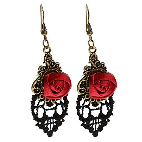 Joyería Pendientes de Oído Colgante Ganchos Huecos Flor Vendimia Retro Encaje Rosa Roja