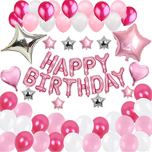 Rpanda 55PCS Happy Birthday Banner Letters Foil Ballons for Decorations 12 Zoll Latex Balloons 65288; White Pink Rose (Ballons Latex Happy Birthday)