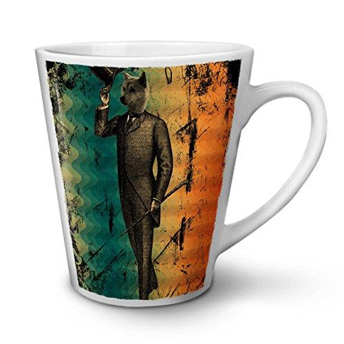 Wellcoda Wolf Retro Einzigartig Jahrgang Latte BecherNobel Kaffeetasse - Komfortabler Griff, Zweiseitiger Druck, robuste Keramik (Kostüme Geschirr Wolf)
