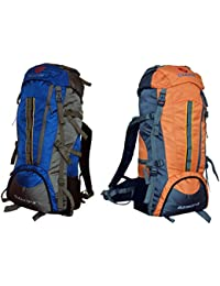 Gleam 2209 Mountain Rucksack / Hiking / Trekking Bag / Backpack 75 Ltrs ( Royal Blue & Orange Set Of 2 Bags )...