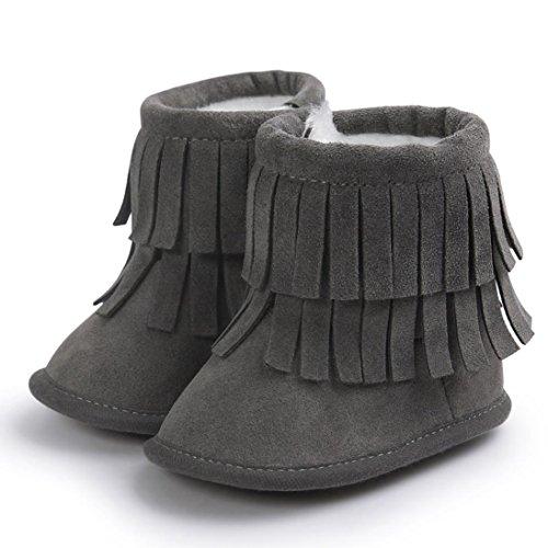 Ouneed® Krabbelschuhe , 0-18 Monate Baby Schneestiefel halten Warm Doppelstock Quasten weiche Sohle weiche Krippe Schuhe Kleinkind Stiefel Dunkelgrau