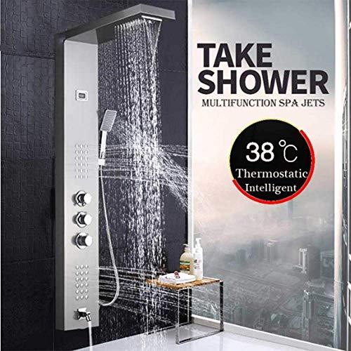 SISHUINIANHUA Gebürstetes Nickel-Thermostat-Duschhahn-Wasserfall-Regen-Duschplatte 3 behandelt Badezimmer-Duschmischer-Spalte mit Handshower,BrushedNickel -