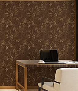 Self Textured Design Wallpaper In Brown Color 57 Sqft Per Roll