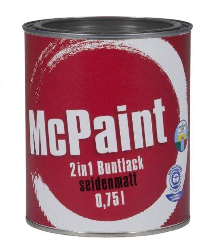 McPaint 2in1 Buntlack Grundierung und Lack in einem für Innen und Außen. PU verstärkt - speziell für Möbel und Kinderspielzeug seidenmatt Farbton: RAL 7016 Anthrazit  0,75 Liter - Bastellack