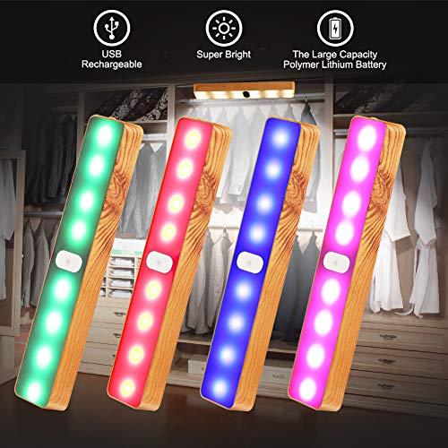 Luz LED para debajo del armario, 3 W, sensor táctil, LED, recargable, USB, cambia de color, portátil, regulable, magnética, luz nocturna extraíble, 1 paquete