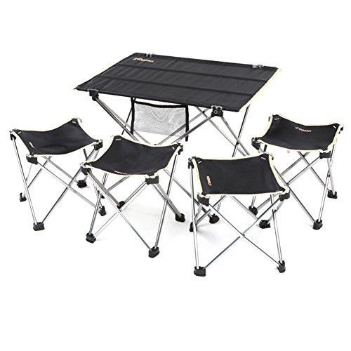 QIANGDA Camping Pliante Table Chaise Ensemble De 5 Pièces Alliage D'aluminium Tissu d'Oxford Poids Léger Antidérapant Portable Noir, M/L Optionnel (Taille : M)