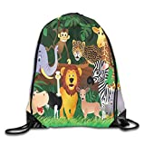 Jebnpse Printed Drawstring Backpacks Bags,Animals in The Jungle Funny Expressions...