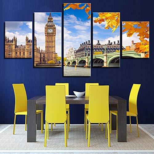 mmwin Leinwand s Wandkunst HD Drucke Wohnkultur Arbeit 5 Stücke Elizabeth Tower Big Ben Poster Für Wohnzimmer Brücke Bilder - Chart Leinwand Arbeit