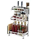 Spice Rack 304 Edelstahl-Küchen-Lagerregal Tischplatten-Mehrschicht-Lagerregal,Threelayers,C